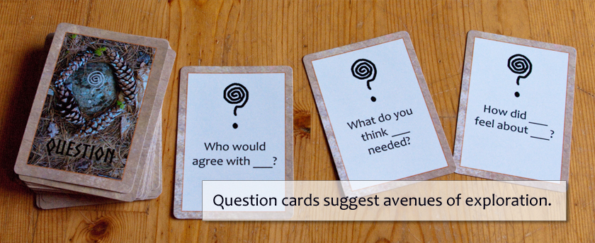 Question cards suggest avenues of exploration.