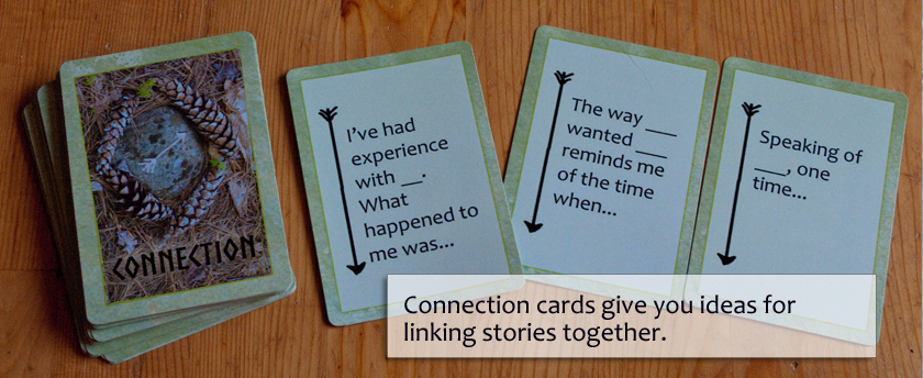 Connection cards give you ideas for linking stories together.
