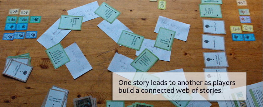 One story leads to another as players build a connected web of stories.